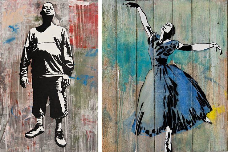 Blek-le-Rat-In-the-Streets-of-the-Tenderloin-spray-paint-and-acrylic-on-linen-Blek-le-Rat-Lady-in-Blue-2-spray-paint-and-acrylic-on-wood