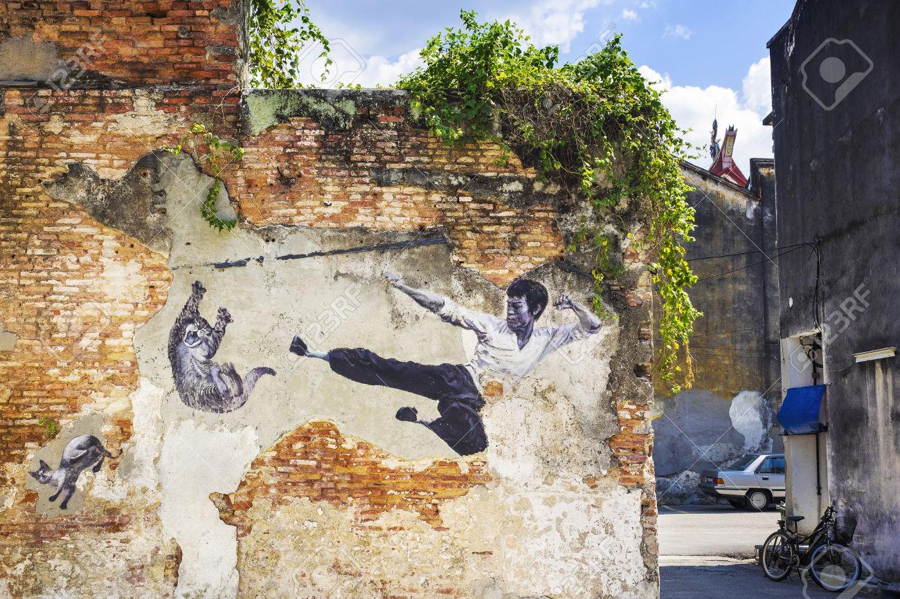 Bruce Lee Street Art Mural in Georgetown, Penang, Malaysia